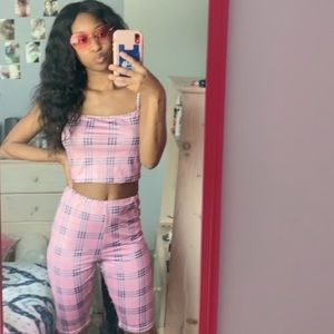 Other - Pink plaid printed two piece set